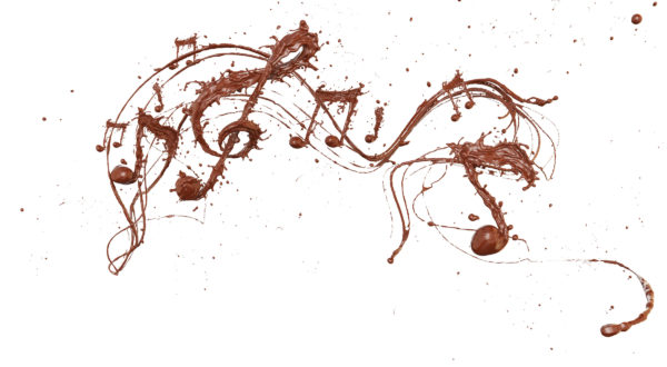 Song of the Chocolates splash with the shape of a melody, symbolic or Creative for celebration concept, Chocolate Splash with Clipping path 3d illustration.